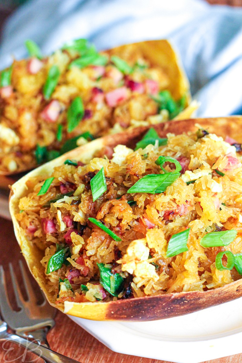 spaghetti squash fried rice recipe pictured in their shells