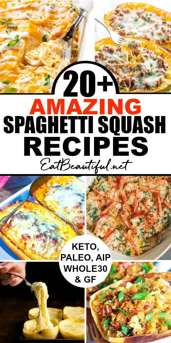 collage of spaghetti squash recipes with banner in the middle