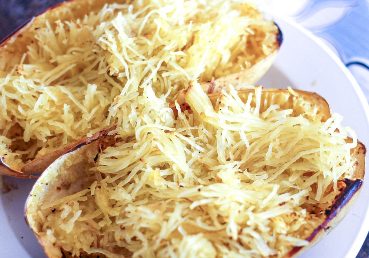 two halves of spaghetti squash just baked