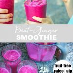 glasses and blender of beet ginger smoothie outside with straws with banner and words