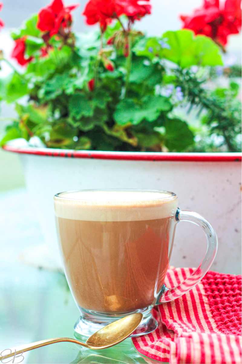 a mug with foamy bulletproof hot chocolate