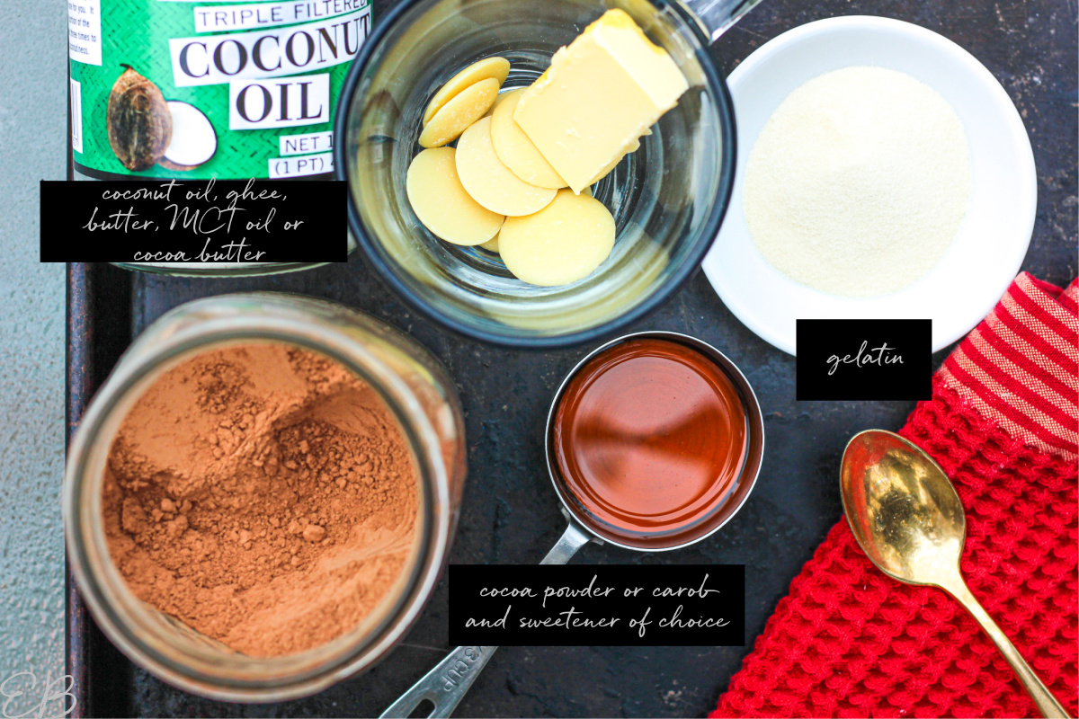 all of the ingredients labeled that go into Bulletproof Hot Chocolate