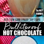 2 cups of bulletproof hot chocolate with banner in the middle