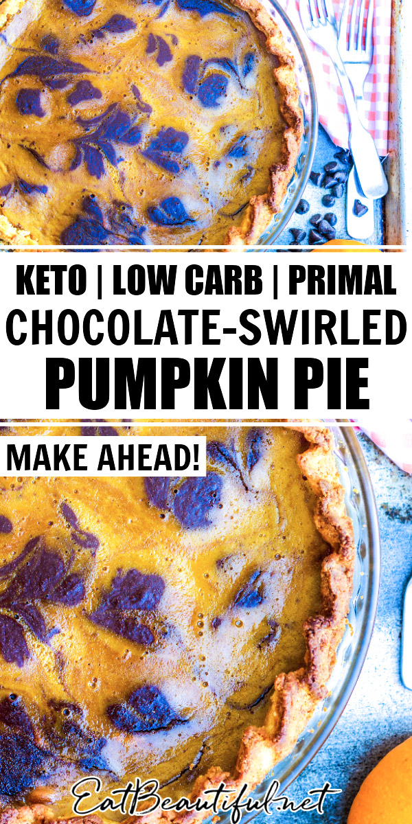 2 images of keto chocolate-swirled pumpkin pie with banner and words in the middle