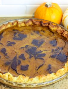 baked process photo of keto chocolate-swirled pumpkin pie