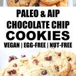 two photos of paleo chocolate chip cookies on white plate with banner and words in the middle