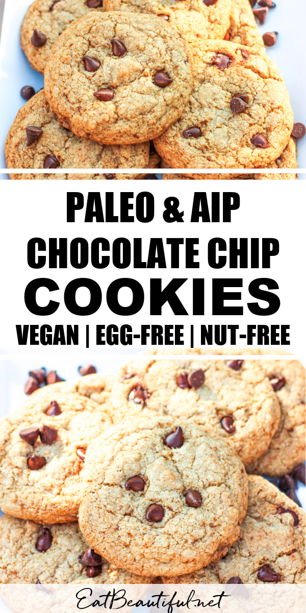 2 images of paleo aip chocolate chip cookies with banner and words in the middle