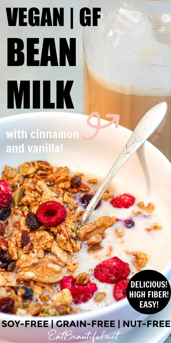 a pin image of cereal and vegan bean milk with the words of the recipe title