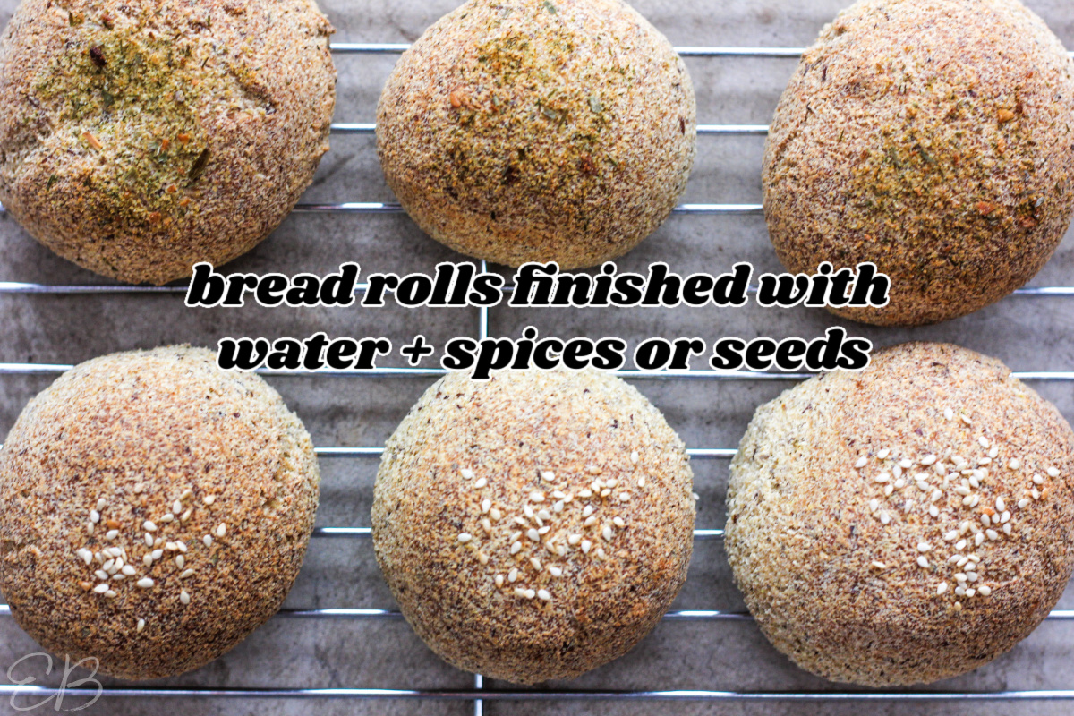 6 keto vegan bread rolls topped with seeds or spices