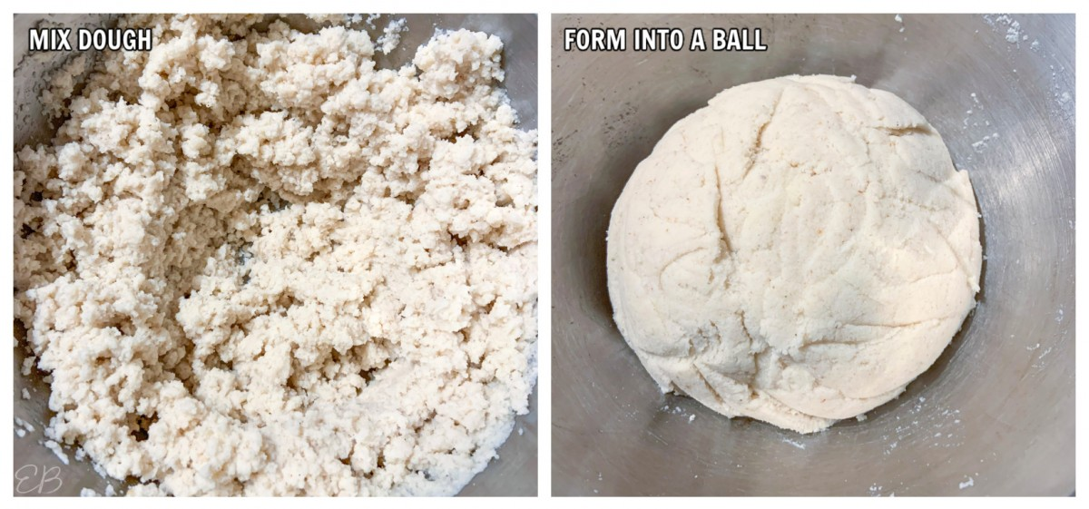 process photo of making the dough for keto vegan bread rolls
