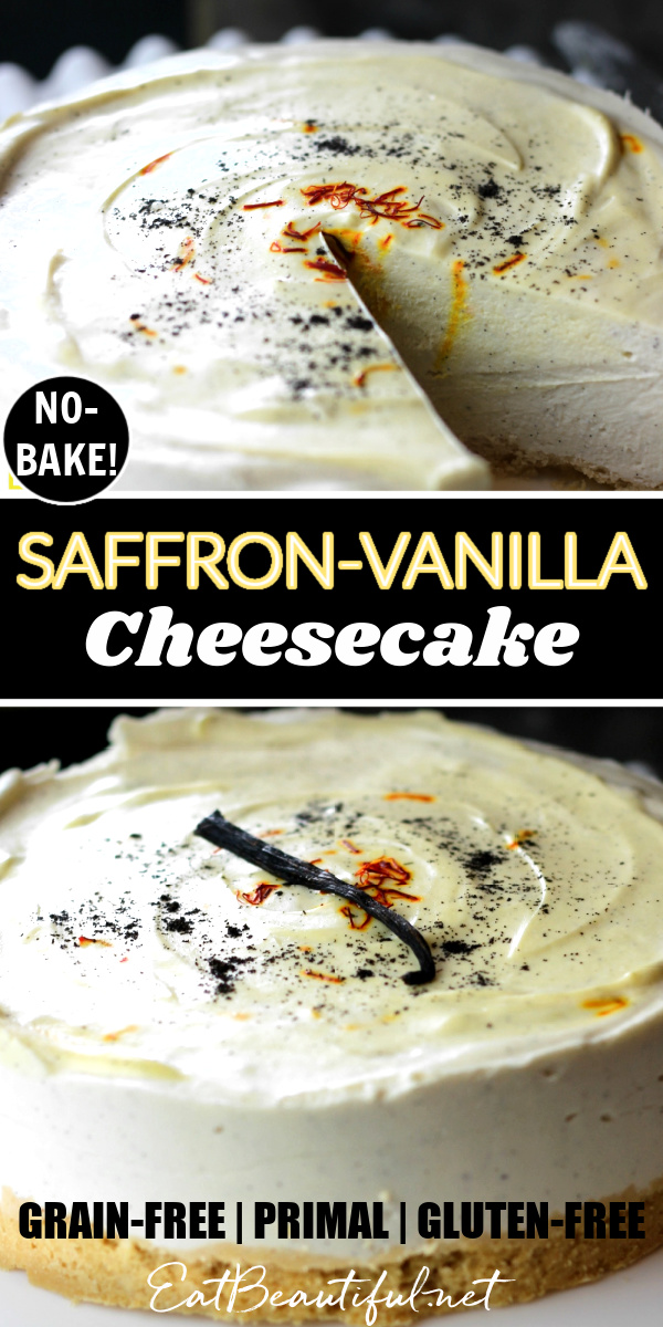 one slice out of saffron vanilla cheesecake and another image of the whole cheesecake with banner in the middle