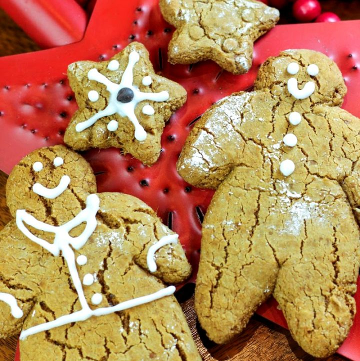 aip gingerbread men and stars with holiday decorations