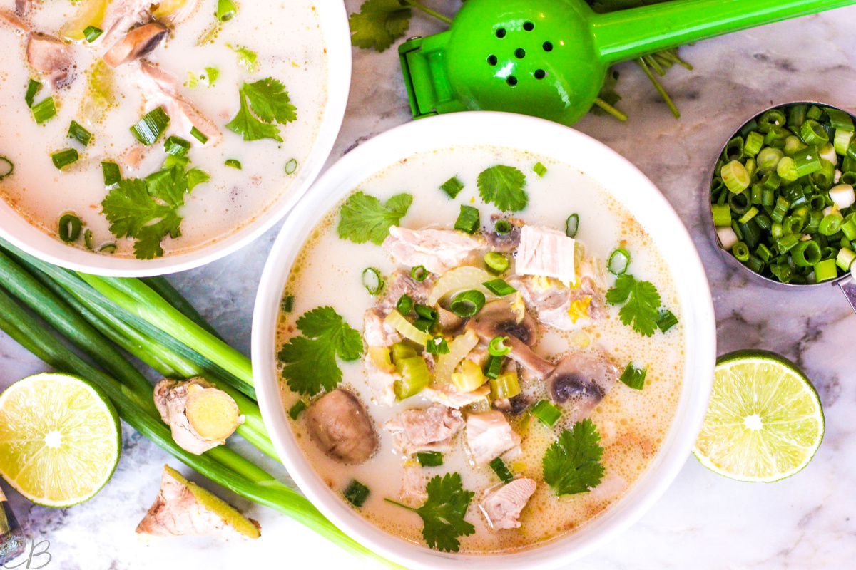 up close overhead view of thai soup