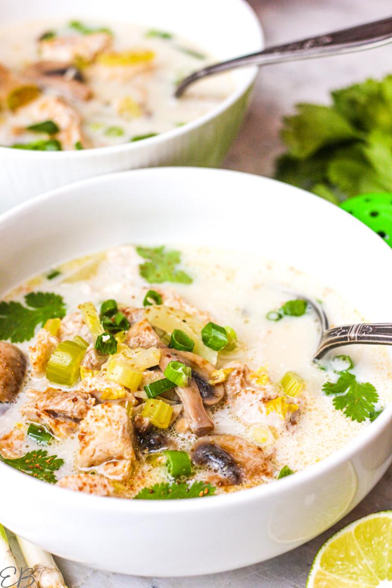 up close view of aip tom kha gai soup