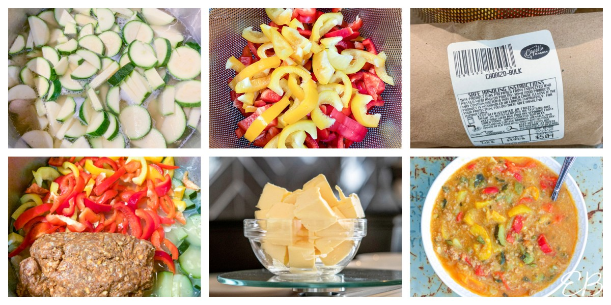 a collage of 6 ingredient steps in making chorizo stew