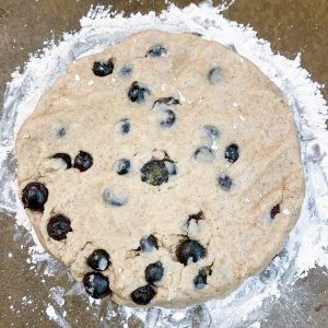AIP scone dough patted into a disc shape