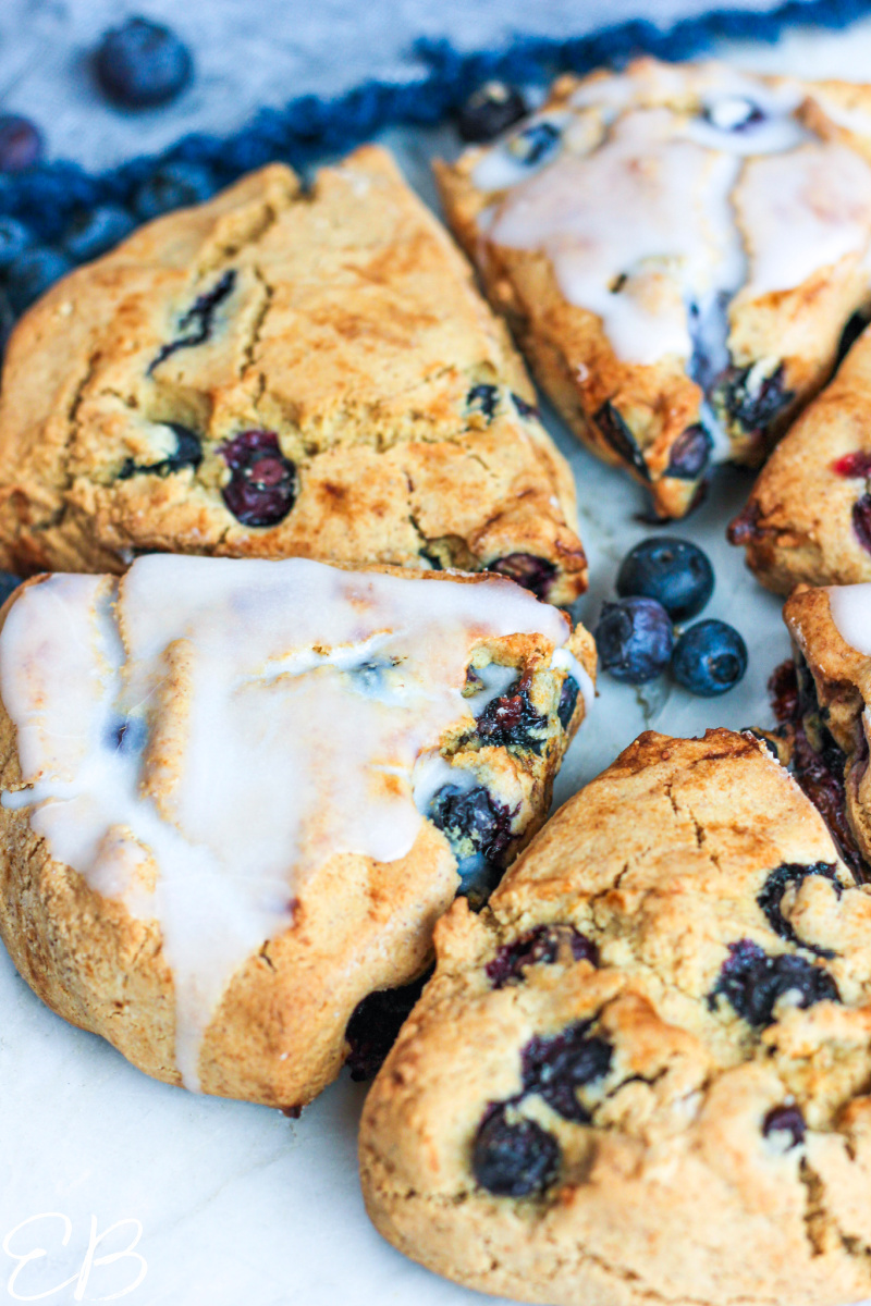 side angle view of blueberry scones