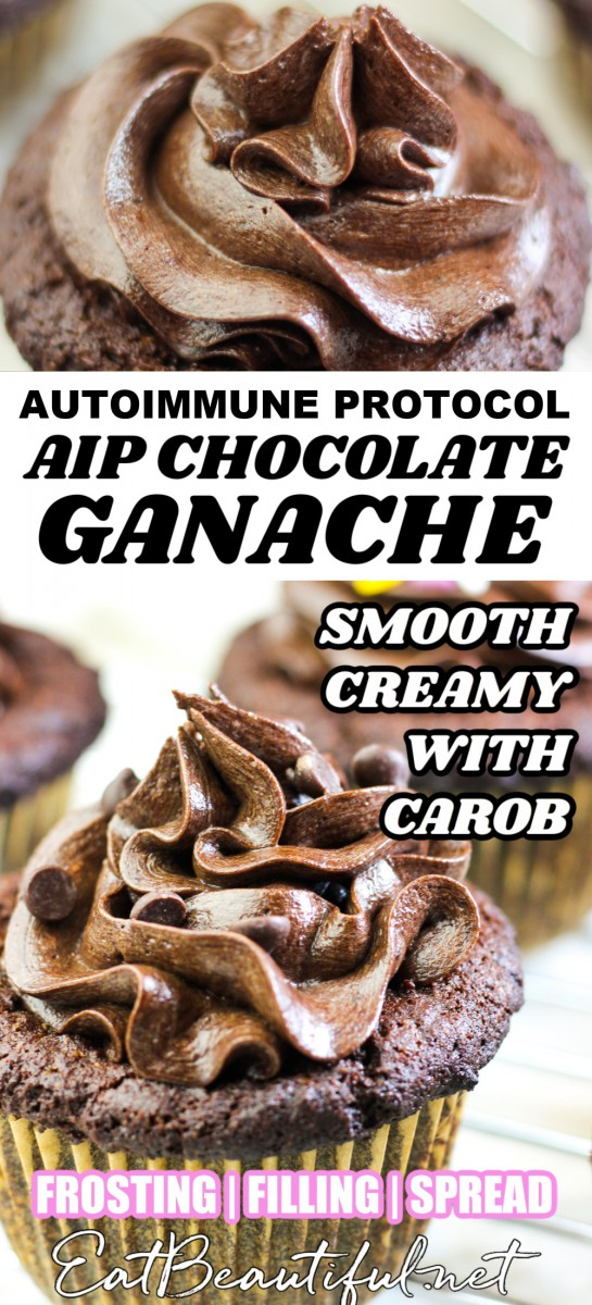2 images of aip chocolate ganache on top of cupcakes with banner in the middle