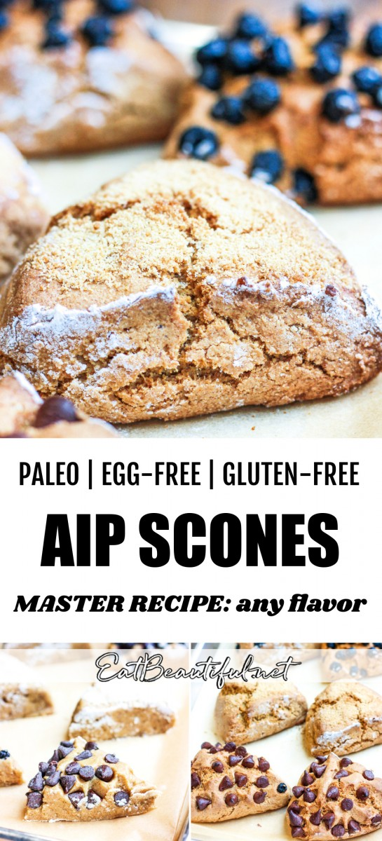 up close image of aip scones plus two other process photos