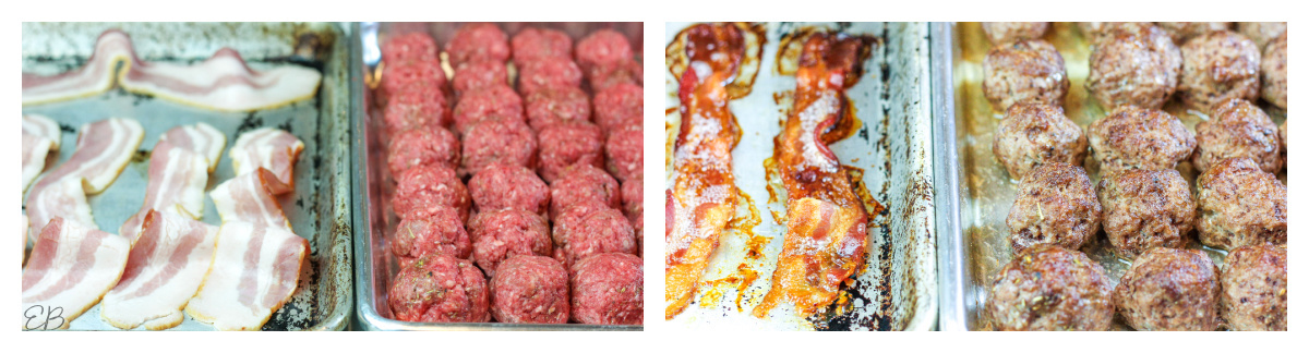 before and after photos of baking bacon and meatballs