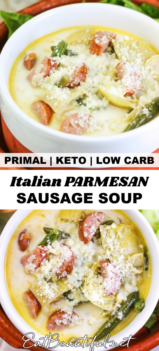 Two bowls of italian parmesan sausage soup with banner and words in the middle