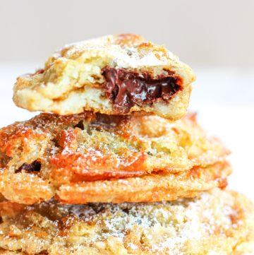 3 stacked chocolate croissant chaffles
