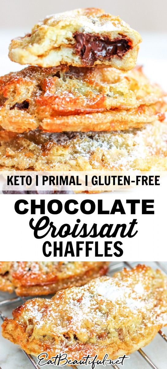 stacked keto chocolate croissant chaffles, with one cut open to show the chocolate middle