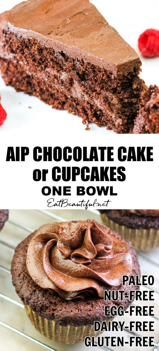 2 images of aip chocolate cake and cupcake with banner in the middle
