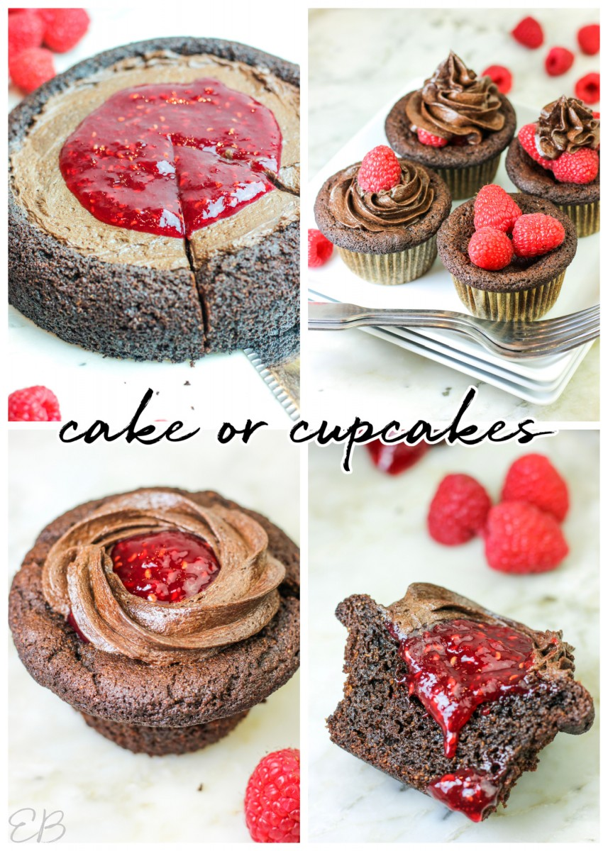 4 photos of aip chocolate cake and cupcakes with frosting and raspberry jam on top