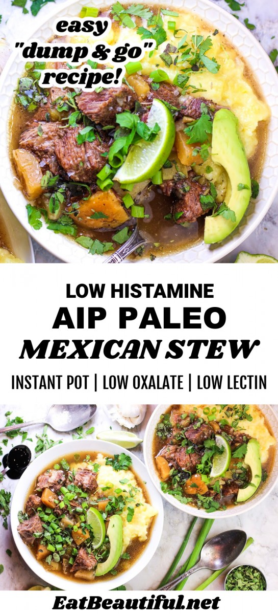 2 photos of AIP Mexican Stew with banner in the middle and words of title