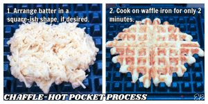 chaffle batter on waffle iron before and after cooking