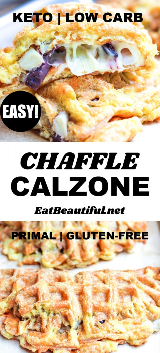 2 images of chaffle calzone with a banner and words in the middle