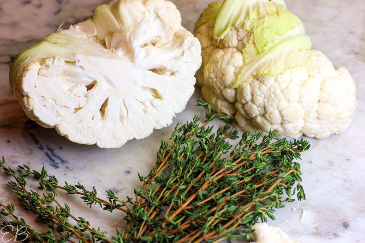 raw cauliflower and a big bunch of fresh thyme