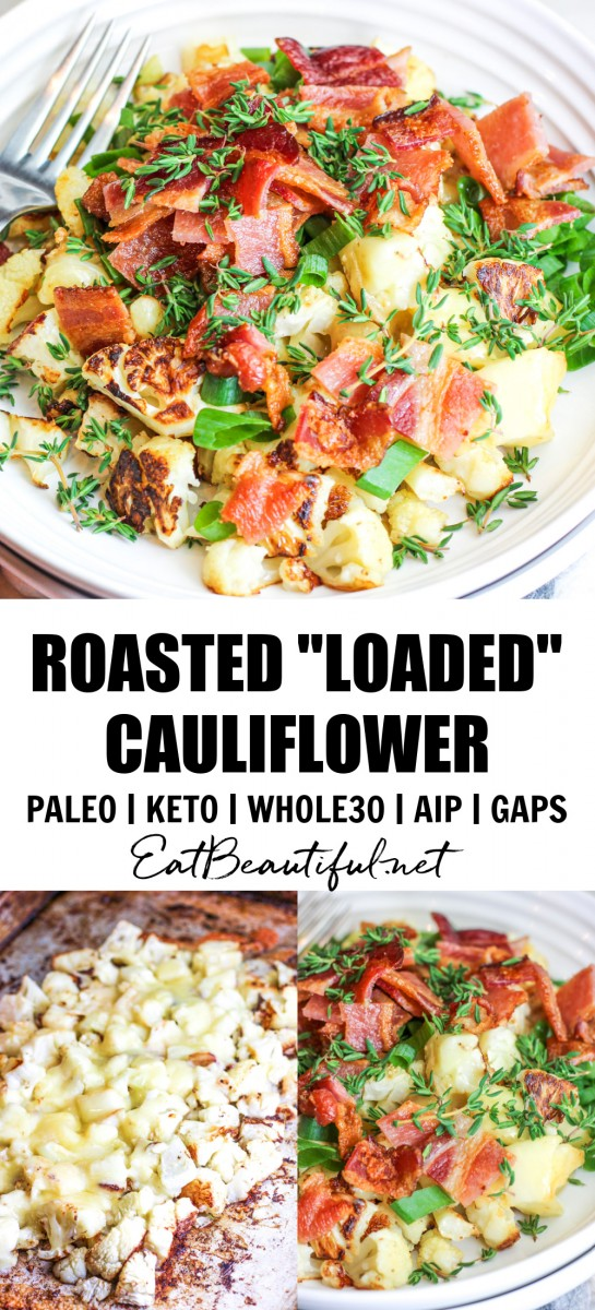 3 images of roasted loaded cauliflower with banner and words in the middle