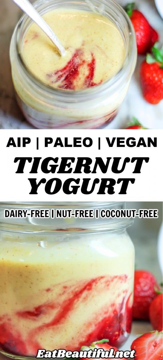 2 IMAGES OF Tigernut Yogurt with banner and words in the middle