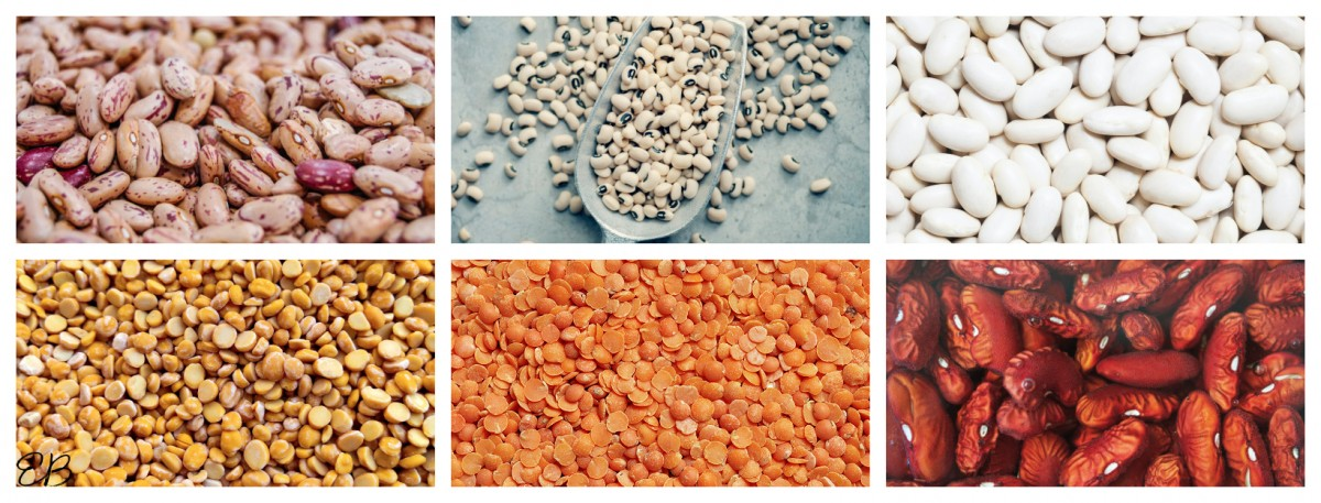 a collage of 6 kinds of beans