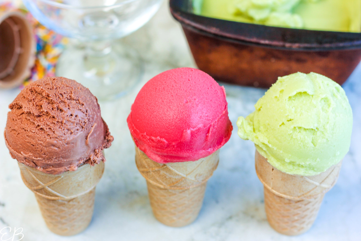 3 cones with different flavors of avocado ice cream lined up