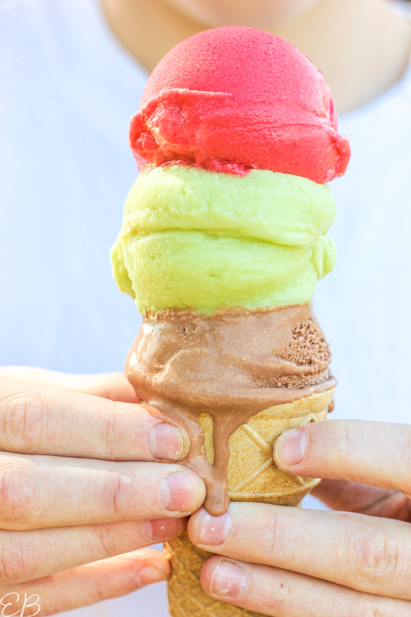 3 scoops on top of a cone, 3 colors, 3 flavors of avocado ice cream