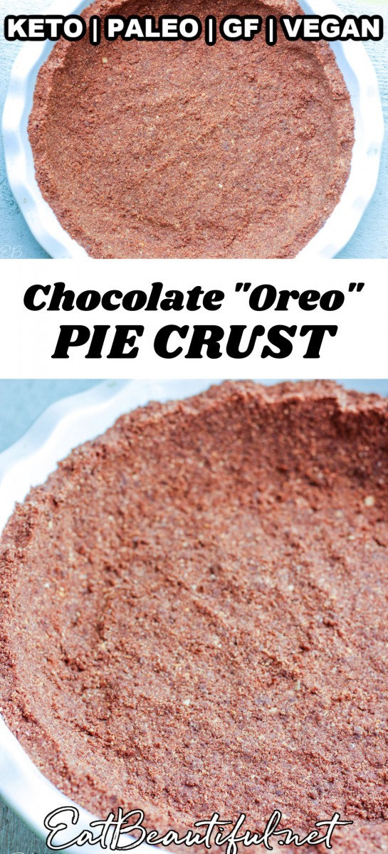 2 images of chocolate oreo pie crust with banner and words in the middle