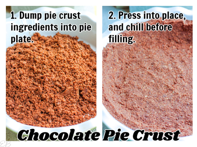 2 images of making chocolate oreo pie crust