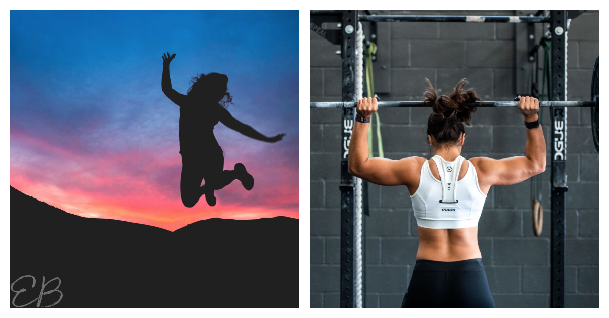 2 photos, one of a woman jumping up and another lifting weights
