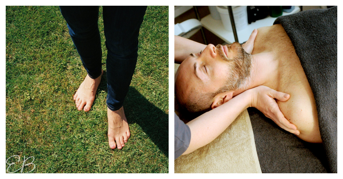 feet on bare grass and a man getting a head and neck massage