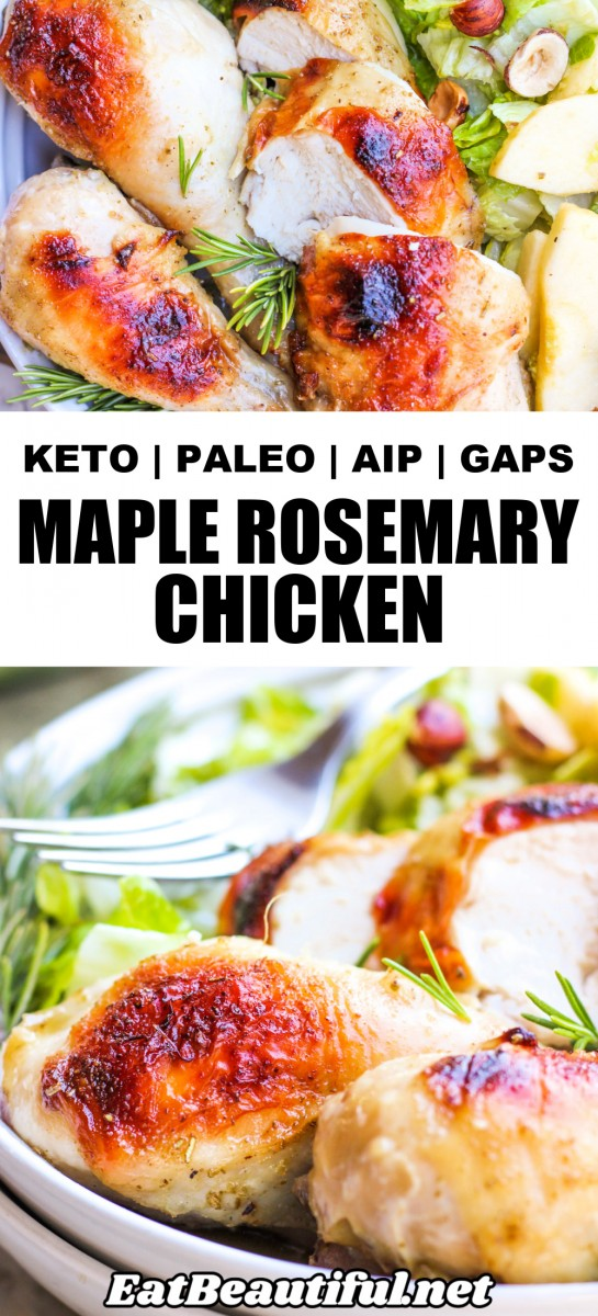 2 IMAGES OF MAPLE ROSEMARY CHICKEN WITH BANNER AND WORDS OF TITLE