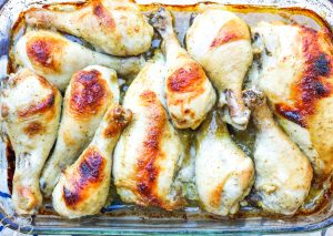overhead view of baked chicken