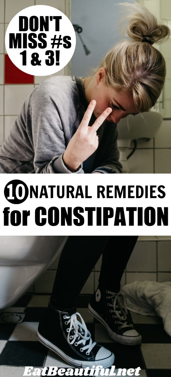 """image of girl on toilet with article title, """"10 Remedies for Constipation"""""""