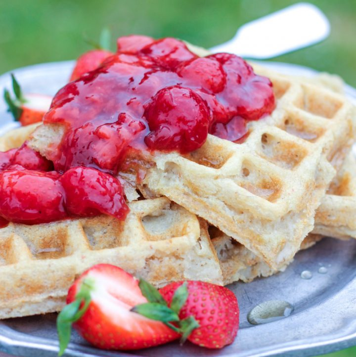 strawberry compote on bean and oat waffles