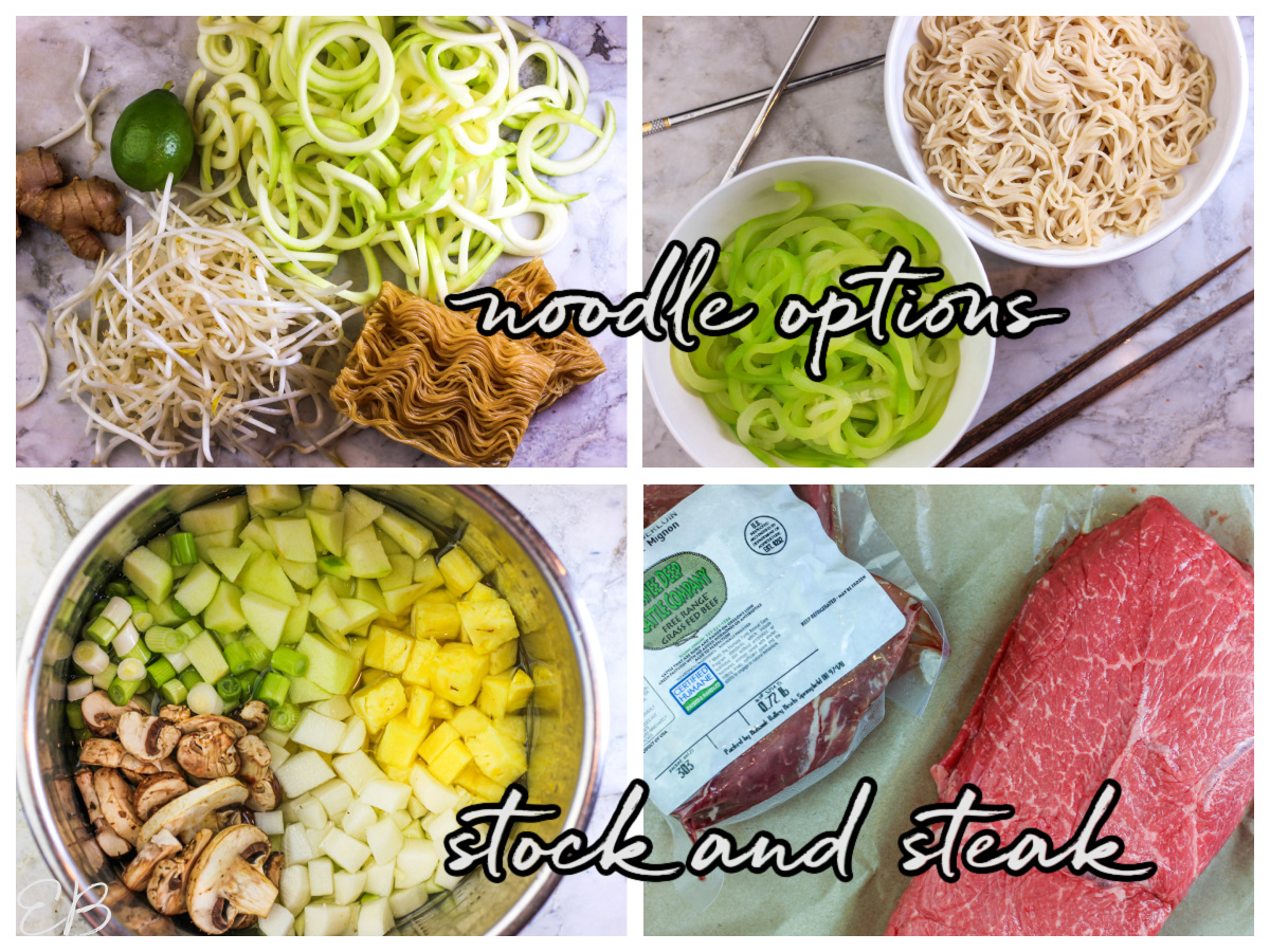 4 photo collage of each of the components of vietnamese beef noodle soup