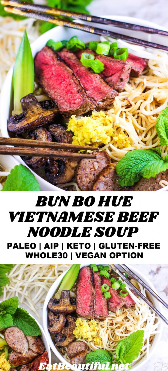 2 images of bun bo hue vietnamese beef noodle soup with recipe title in the center