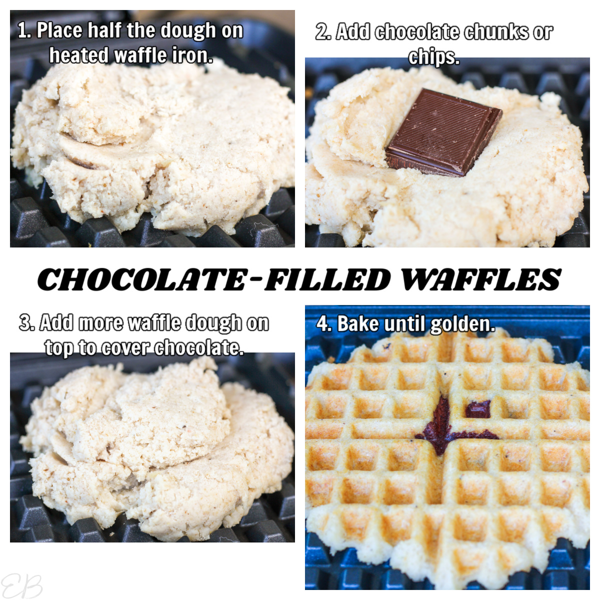 4 step process photos for making chocolate filled bean and oat waffles