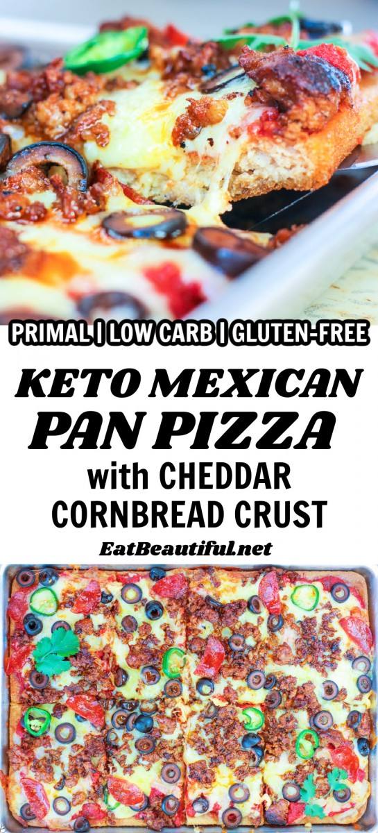 2 images of keto mexican pan pizza with words on a banner in the middle
